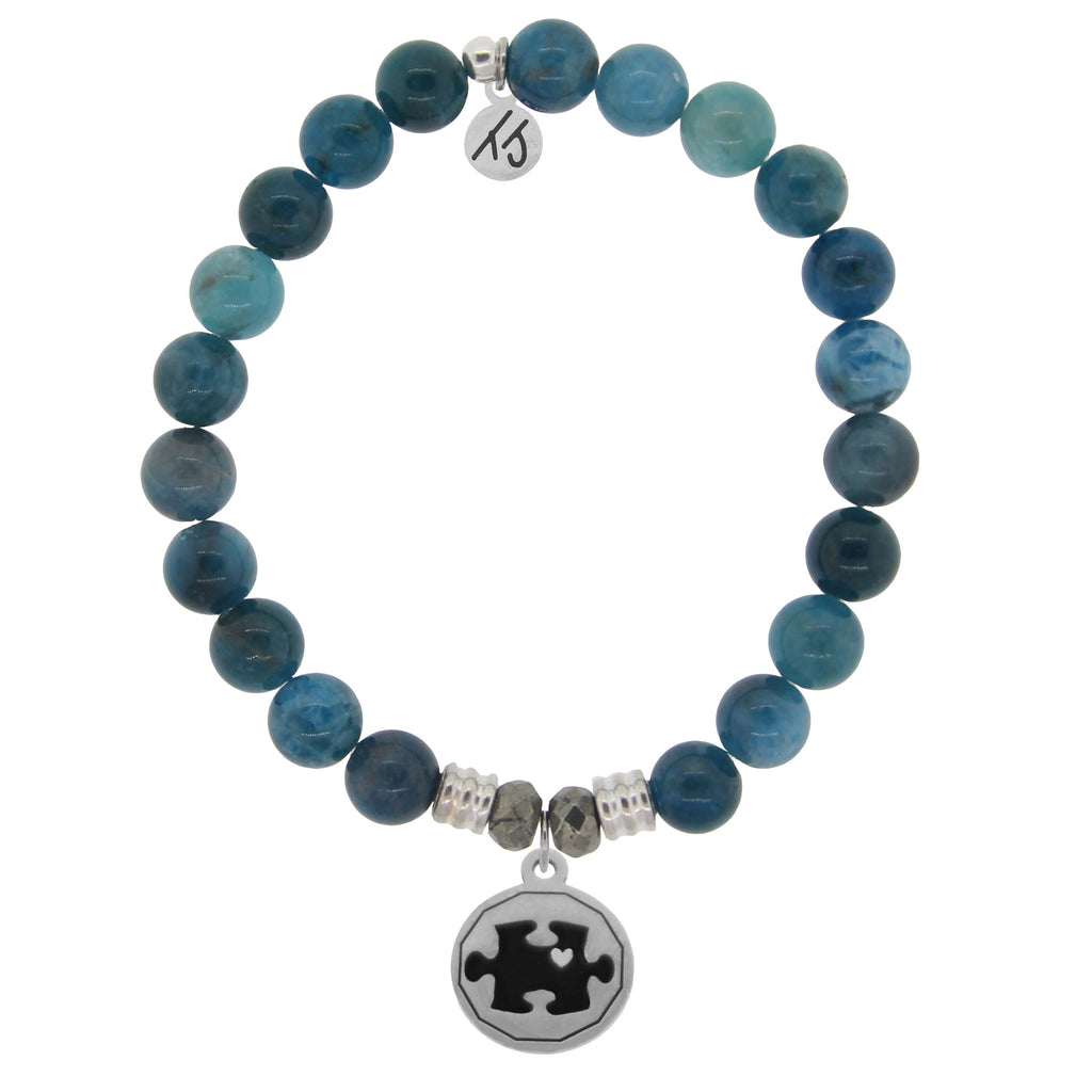 Arctic Apatite Stone Bracelet with Autism Awareness Sterling Silver Charm