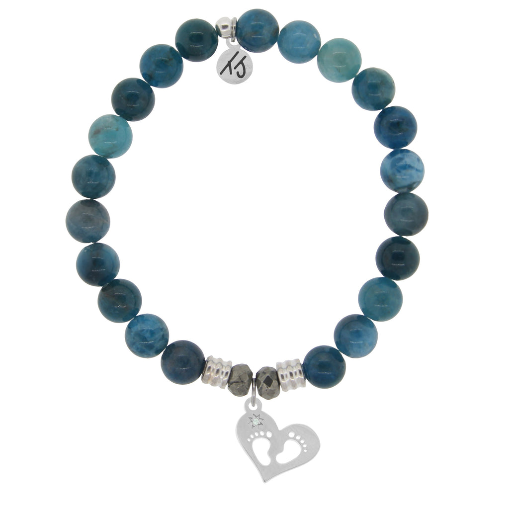 Arctic Apatite Stone Bracelet with Baby Feet Sterling Silver Charm