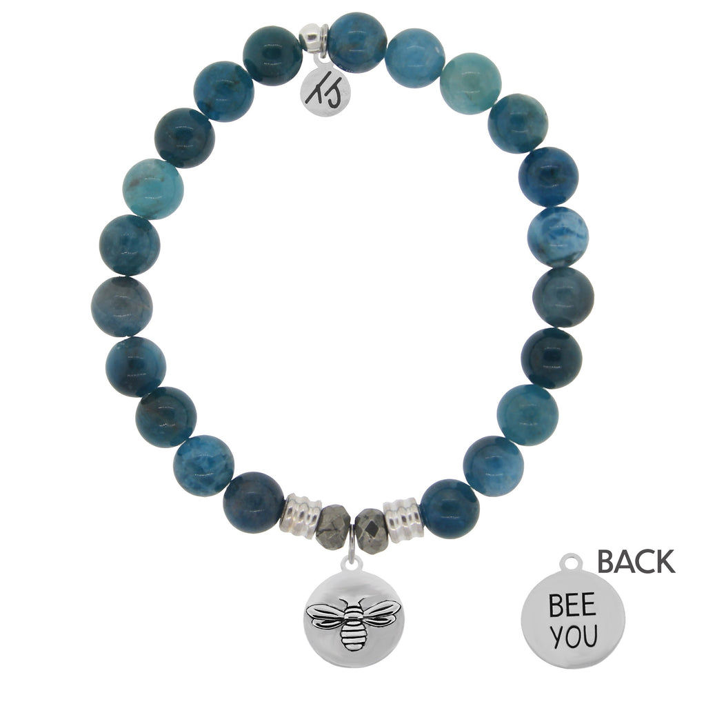 Arctic Apatite Stone Bracelet with Bee You Sterling Silver Charm