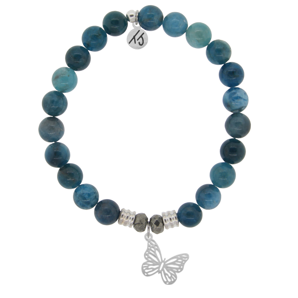 Arctic Apatite Stone Bracelet with Butterfly Sterling Silver Charm
