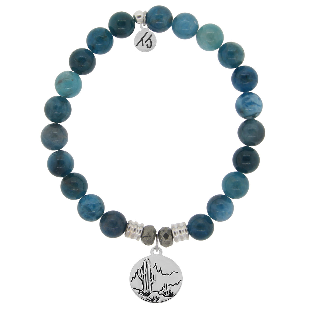 Arctic Apatite Stone Bracelet with Cactus Sterling Silver Charm