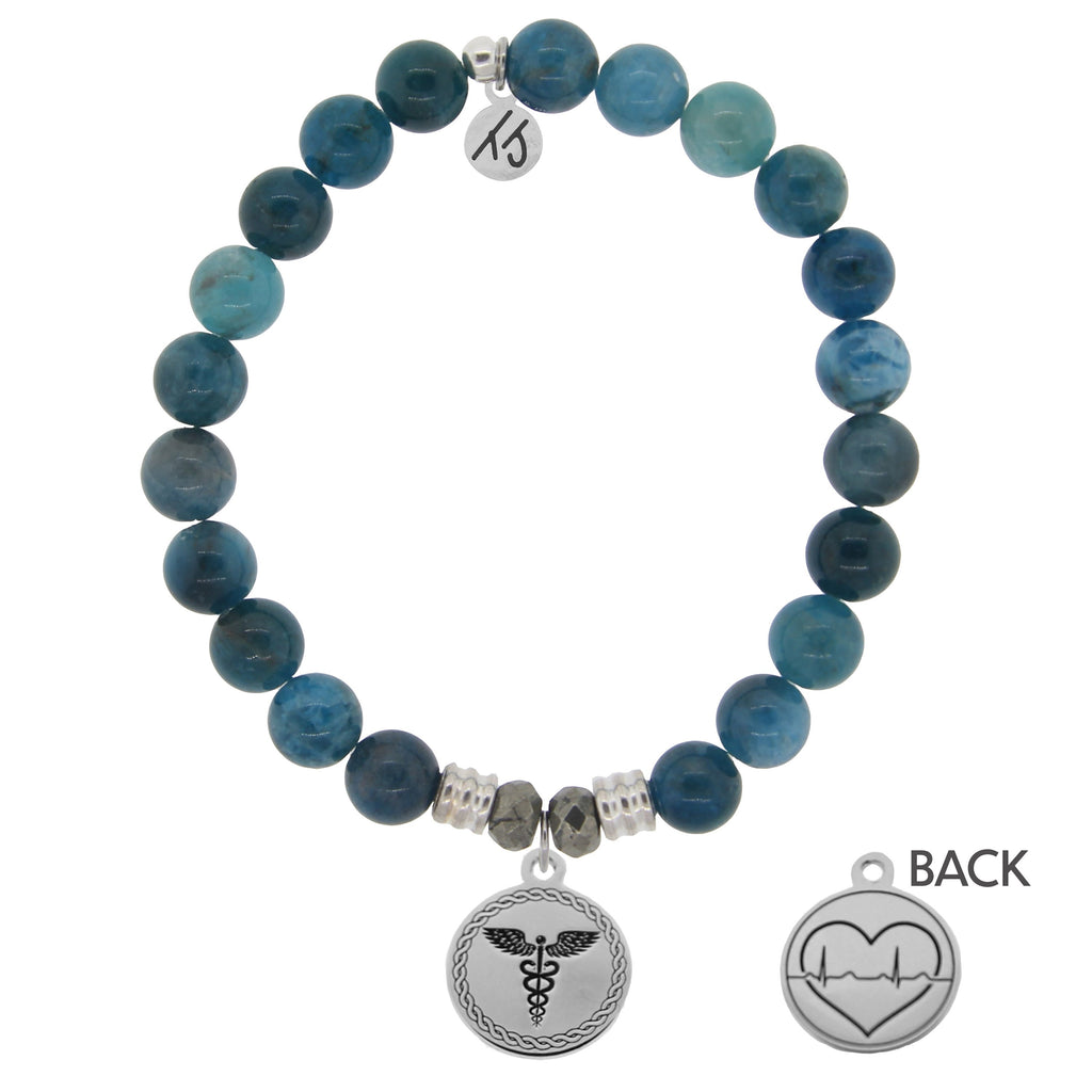 Arctic Apatite Stone Bracelet with Caduceus Sterling Silver Charm