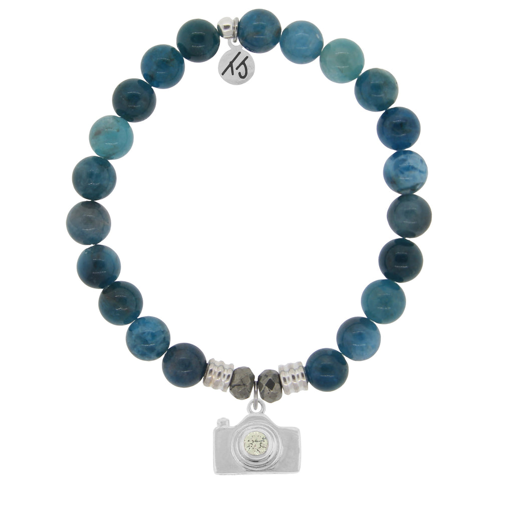 Arctic Apatite Stone Bracelet with Camera Sterling Silver Charm