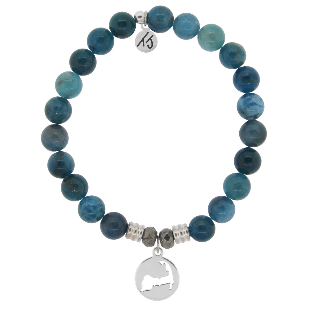 Arctic Apatite Stone Bracelet with Cape Cod Cutout Sterling Silver Charm