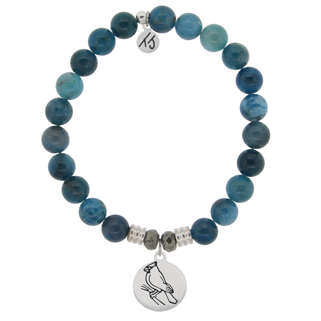 Arctic Apatite Stone Bracelet with Cardinal Sterling Silver Charm
