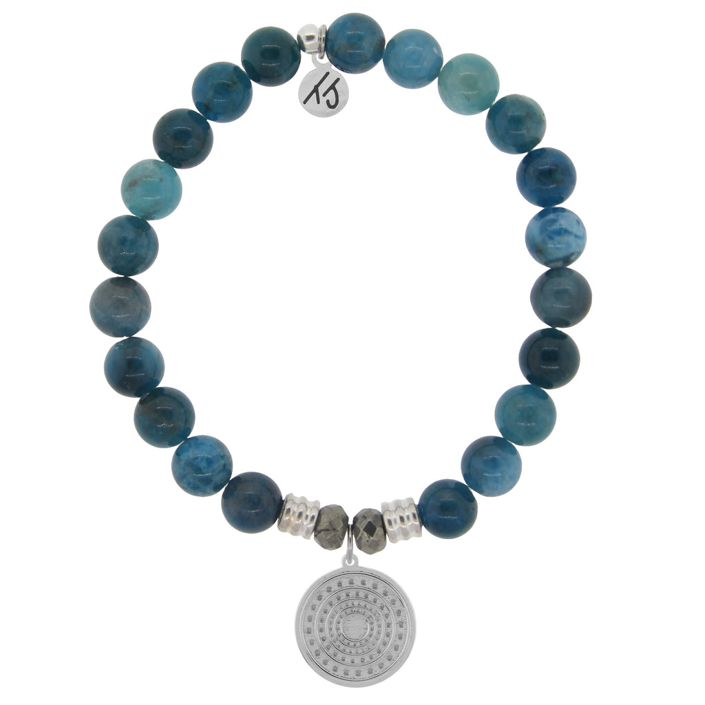 Arctic Apatite Stone Bracelet with Family Circle Sterling Silver Charm