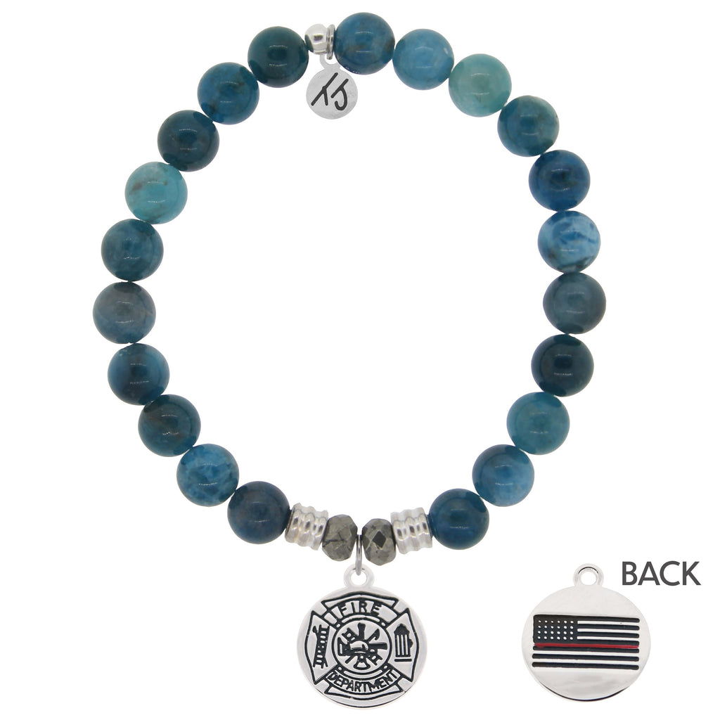 Arctic Apatite Stone Bracelet with Firefighter Sterling Silver Charm