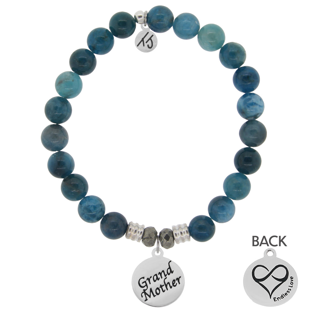 Arctic Apatite Stone Bracelet with Grandmother Endless Love Sterling Silver Charm