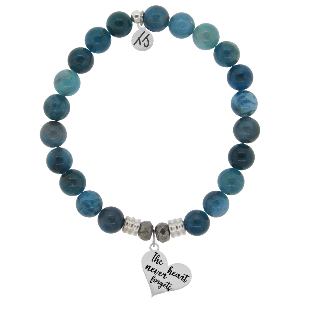 Arctic Apatite Stone Bracelet with Heart Never Forgets Sterling Silver Charm