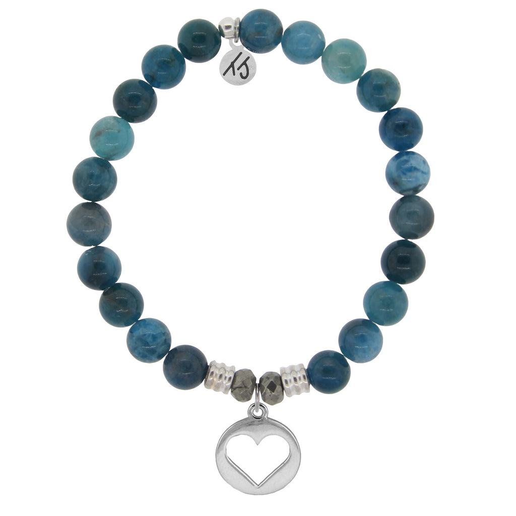 Arctic Apatite Stone Bracelet with Heart Sterling Silver Charm
