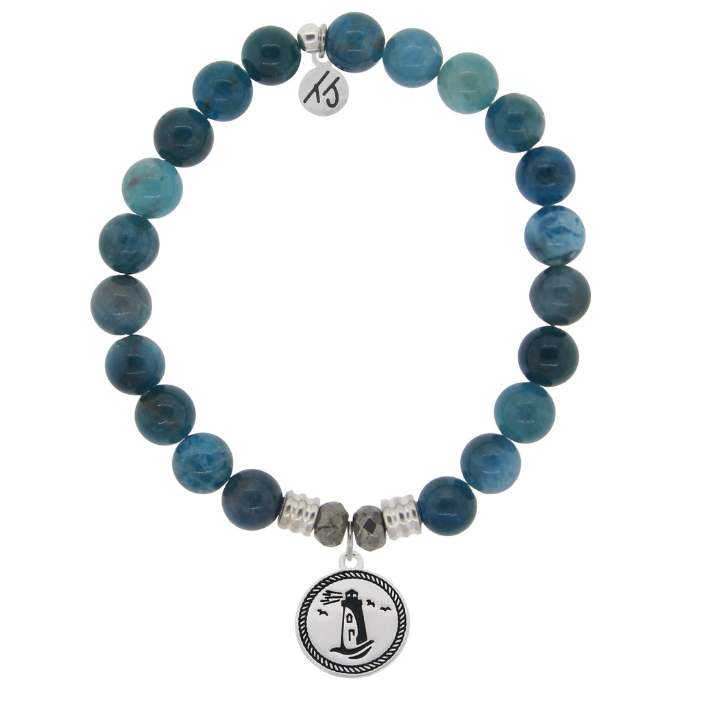 Arctic Apatite Stone Bracelet with Lighthouse Sterling Silver Charm