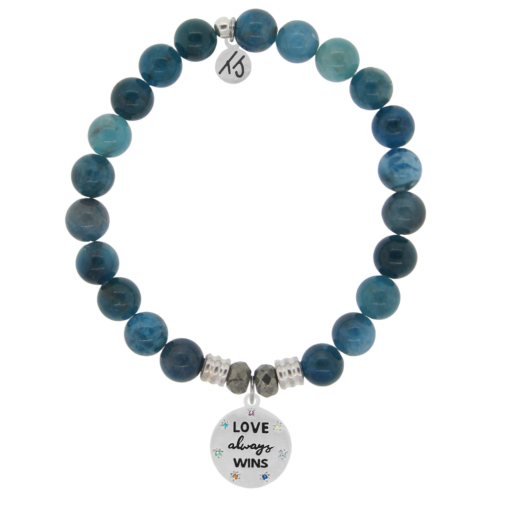 Arctic Apatite Stone Bracelet with Love Always Wins Sterling Silver Charm