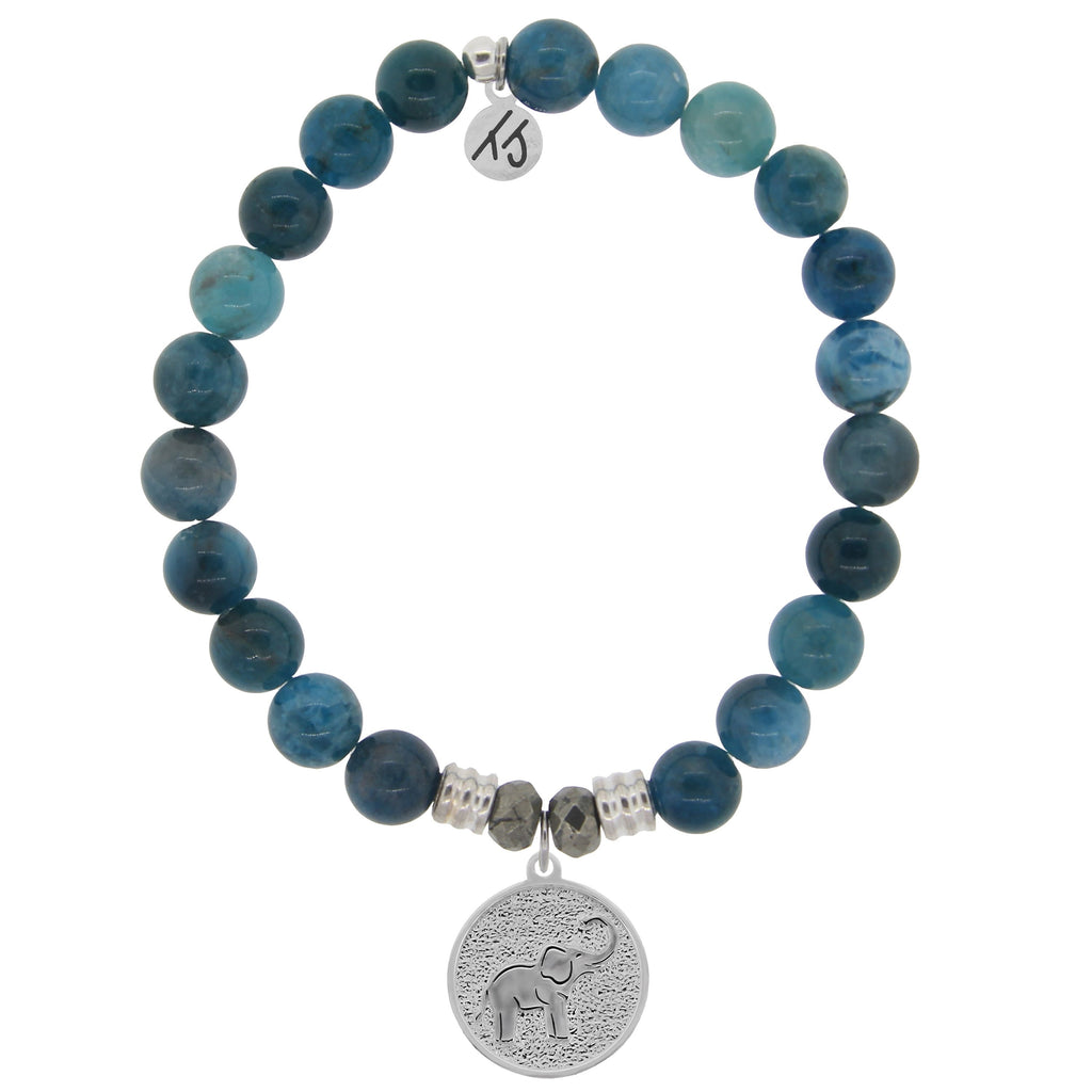 Arctic Apatite Stone Bracelet with Lucky Elephant Sterling Silver Charm