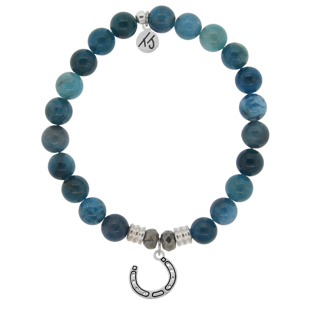 Arctic Apatite Stone Bracelet with Lucky Horseshoe Sterling Silver Charm
