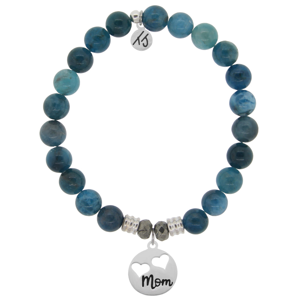 Arctic Apatite Stone Bracelet with Mom... Sterling Silver Charm