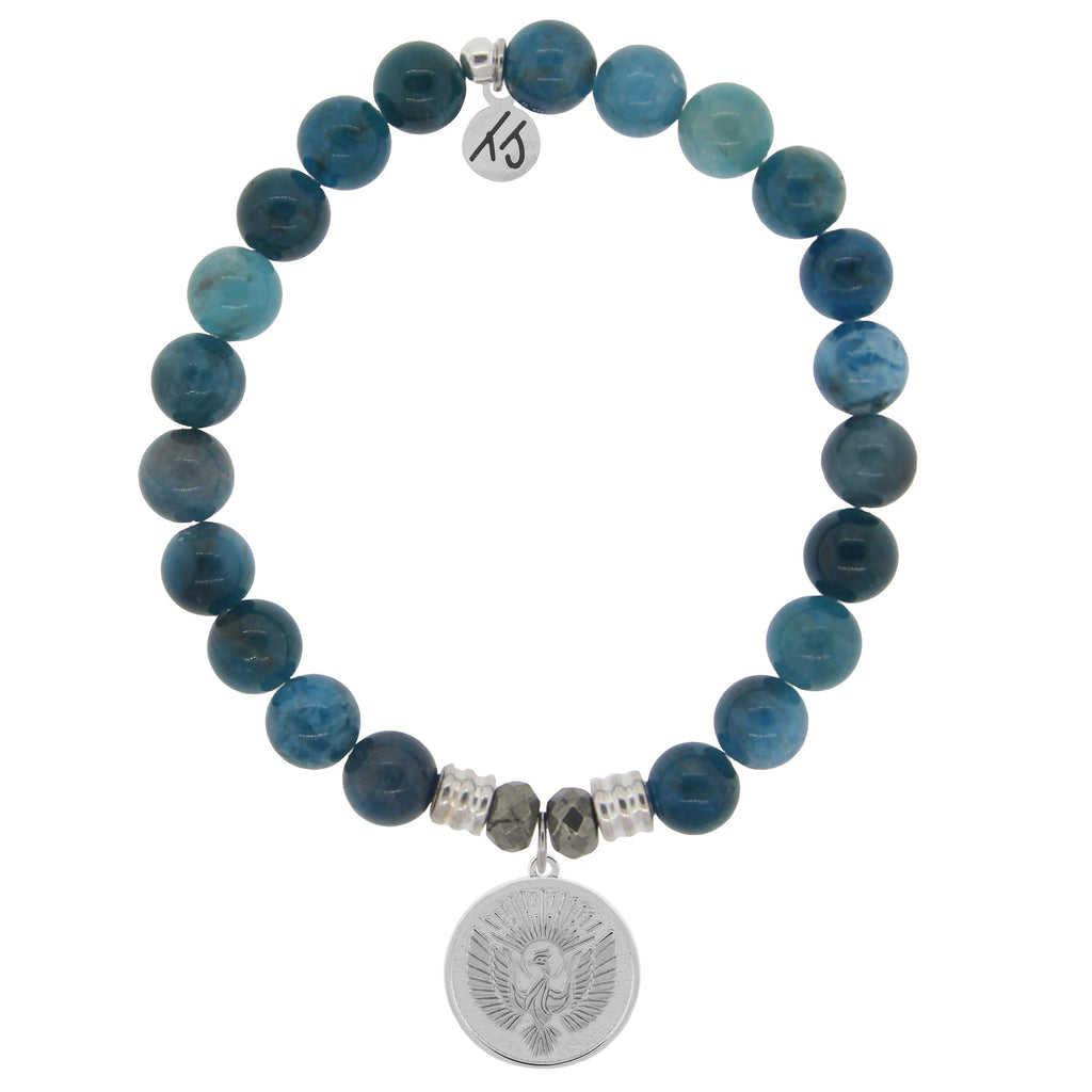 Arctic Apatite Stone Bracelet with Phoenix Sterling Silver Charm