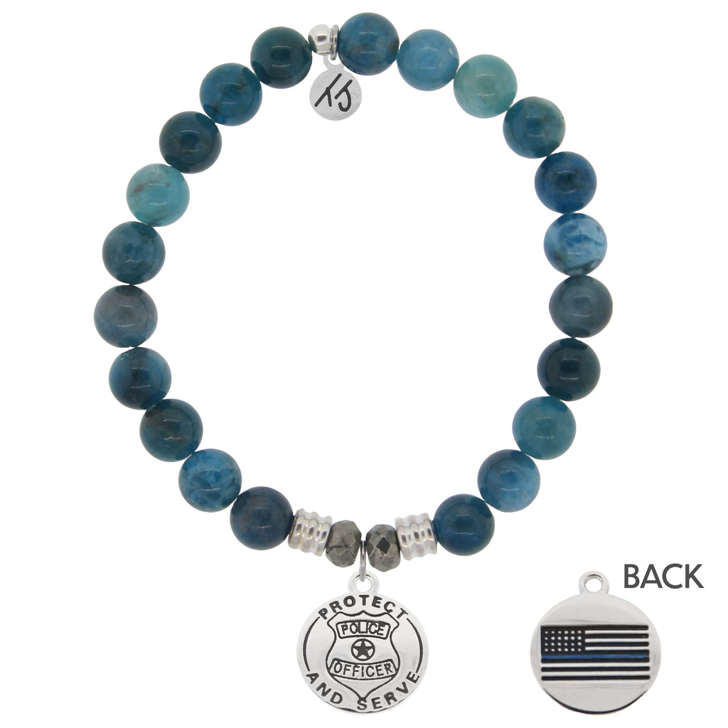 Arctic Apatite Stone Bracelet with Police Sterling Silver Charm