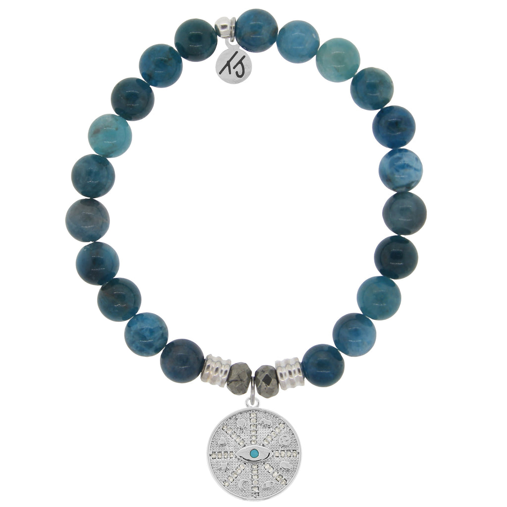 Arctic Apatite Stone Bracelet with Protection Sterling Silver Charm