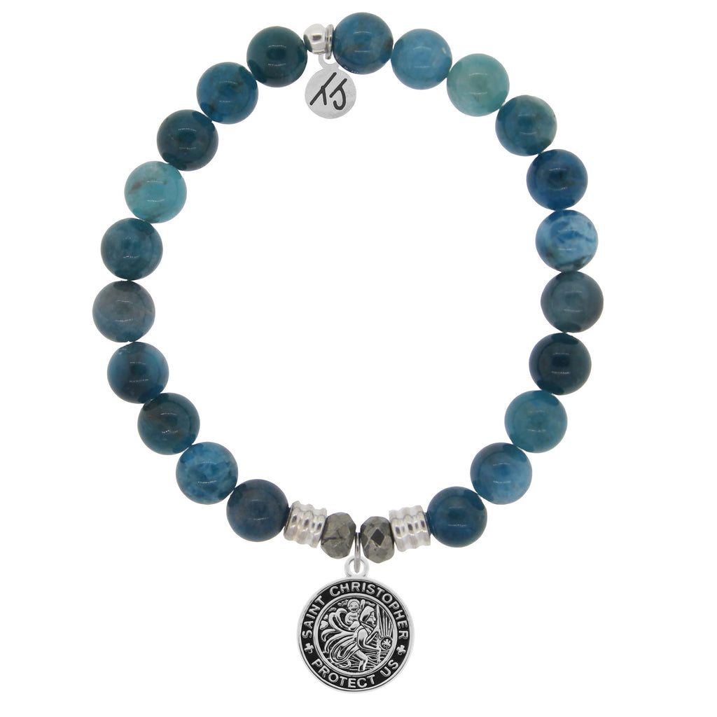 Arctic Apatite Stone Bracelet with Saint Christopher Sterling Silver Charm