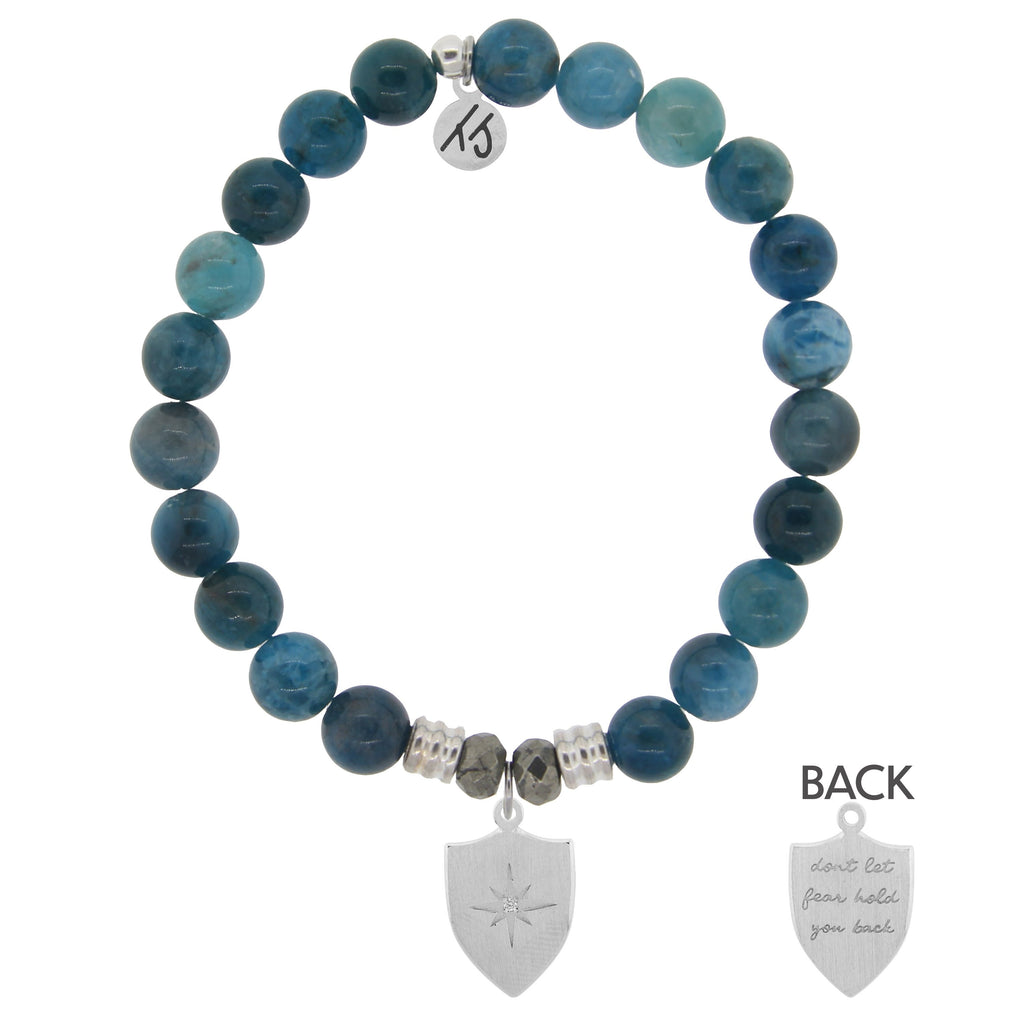 Arctic Apatite Stone Bracelet with Shield of Strength Sterling Silver Charm