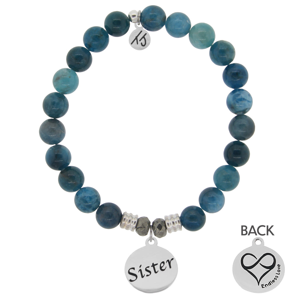 Arctic Apatite Stone Bracelet with Sister Endless Love Sterling Silver Charm