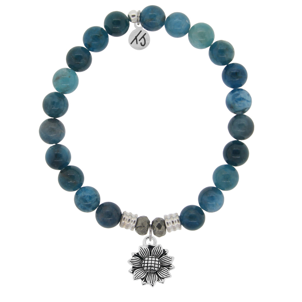 Arctic Apatite Stone Bracelet with Sunflower Sterling Silver Charm