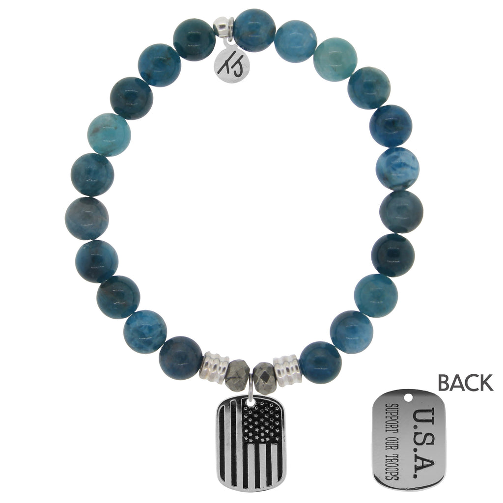 Arctic Apatite Stone Bracelet with Support Our Troops Sterling Silver Charm