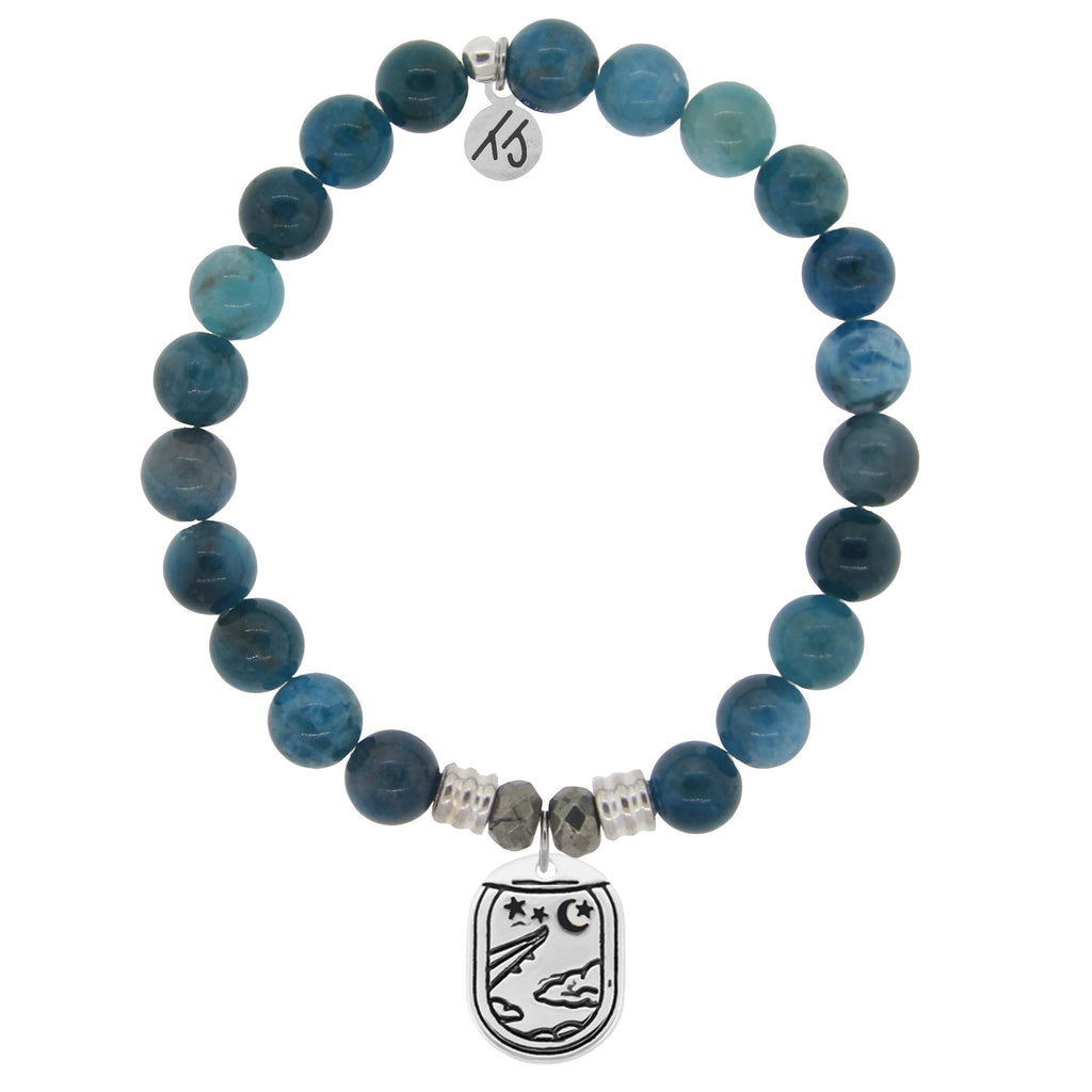 Arctic Apatite Stone Bracelet with Traveler Sterling Silver Charm