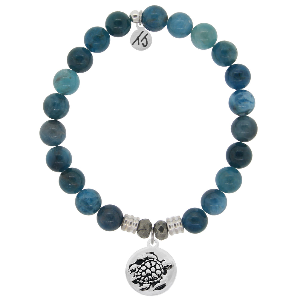 Arctic Apatite Stone Bracelet with Turtle Sterling Silver Charm