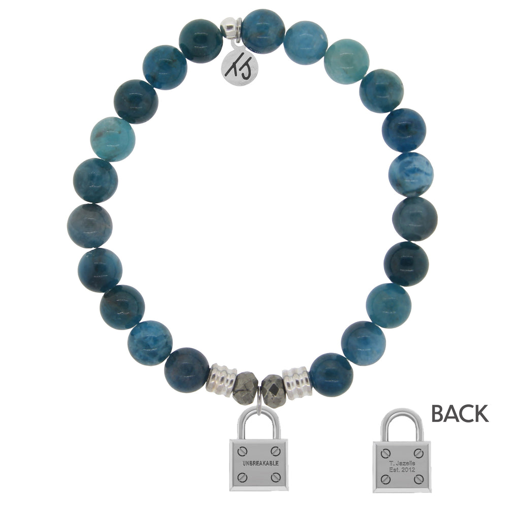 Arctic Apatite Stone Bracelet with Unbreakable Sterling Silver Charm