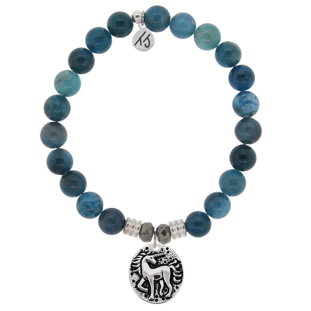 Arctic Apatite Stone Bracelet with Unicorn Sterling Silver Charm
