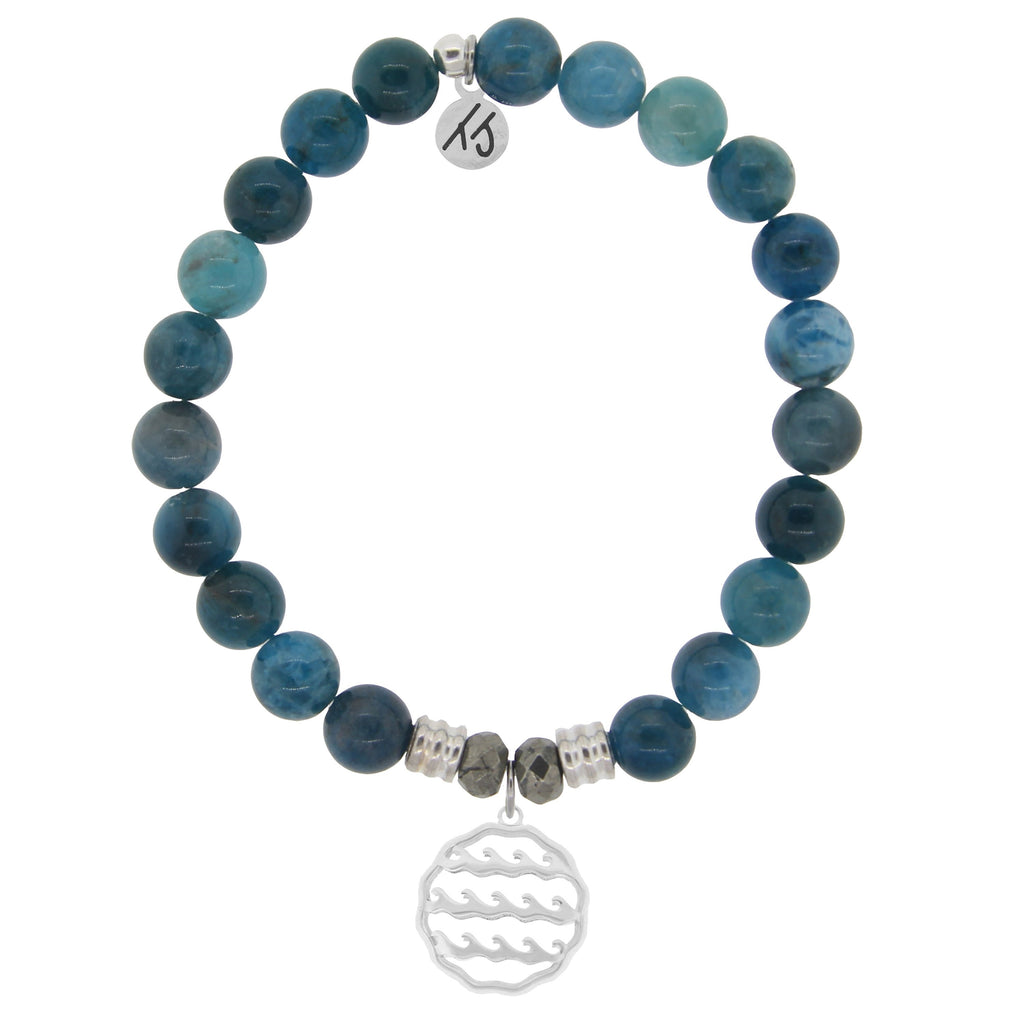 Arctic Apatite Stone Bracelet with Waves of Life Sterling Silver Charm