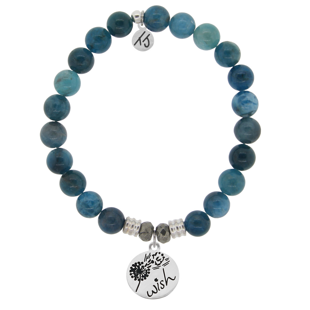 Arctic Apatite Stone Bracelet with Wish Sterling Silver Charm