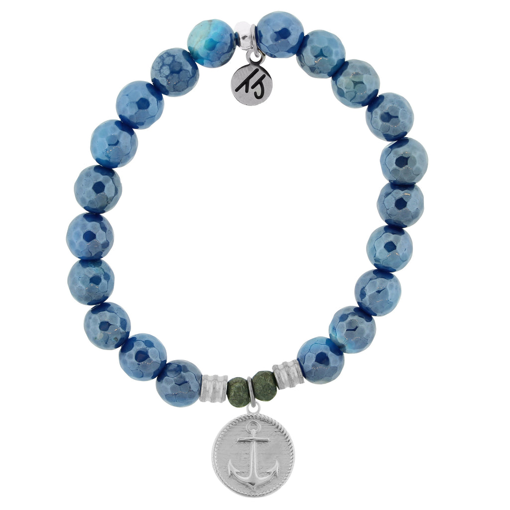 Blue Agate Stone Bracelet with Anchor Sterling Silver Charm
