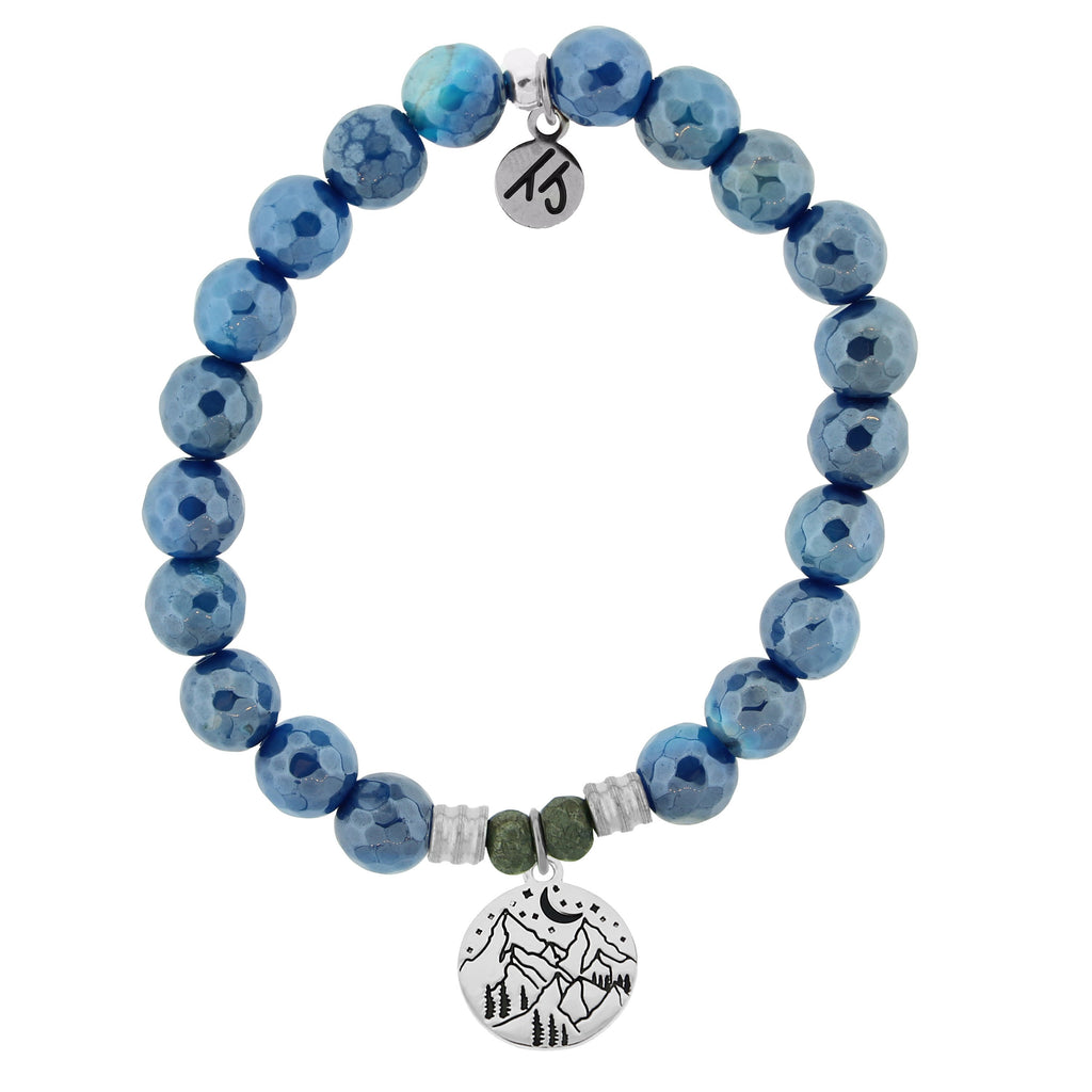 Blue Agate Stone Bracelet with Mountain Sterling Silver Charm