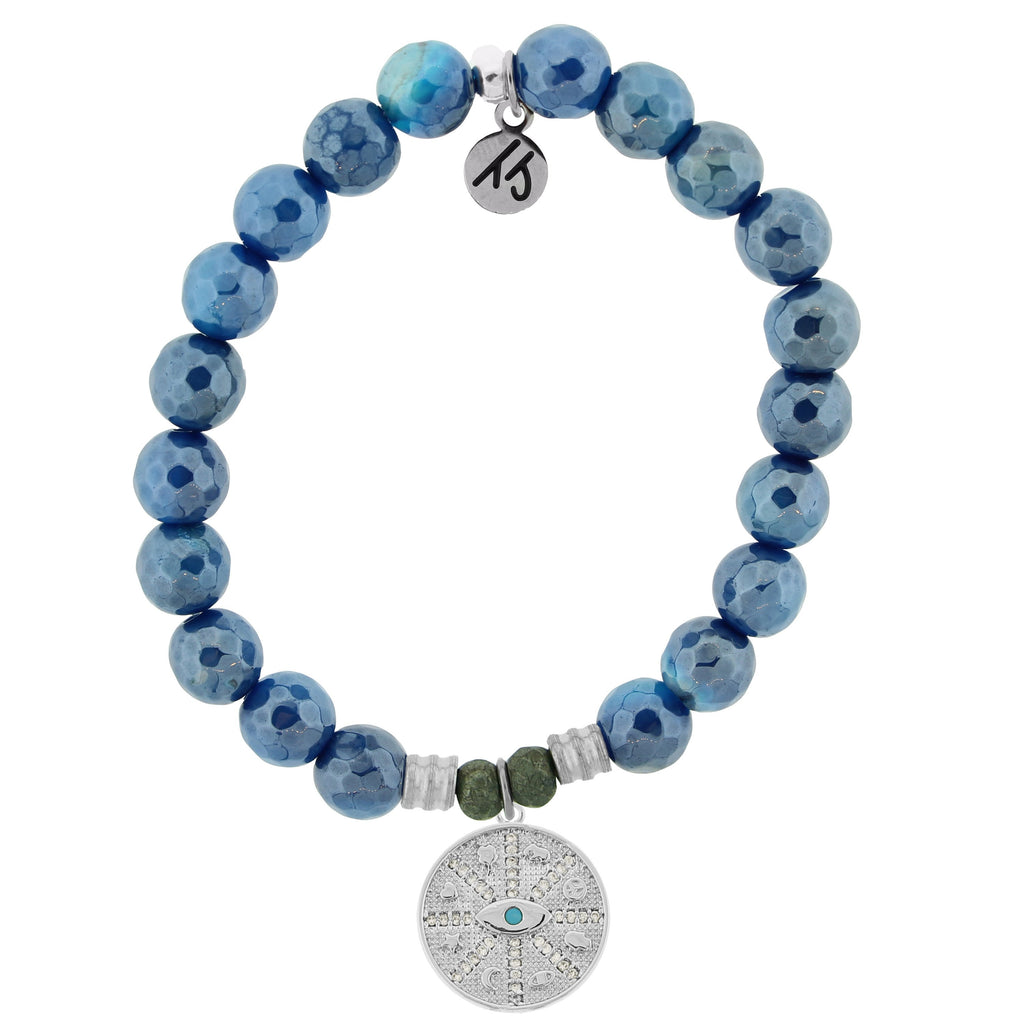 Blue Agate Stone Bracelet with Protection Sterling Silver Charm
