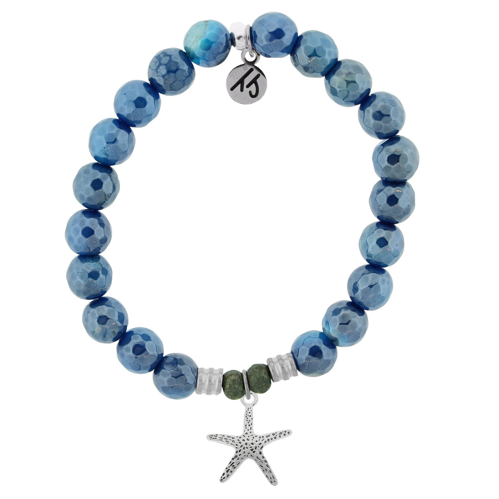 Blue Agate Stone Bracelet with Starfish Sterling Silver Charm