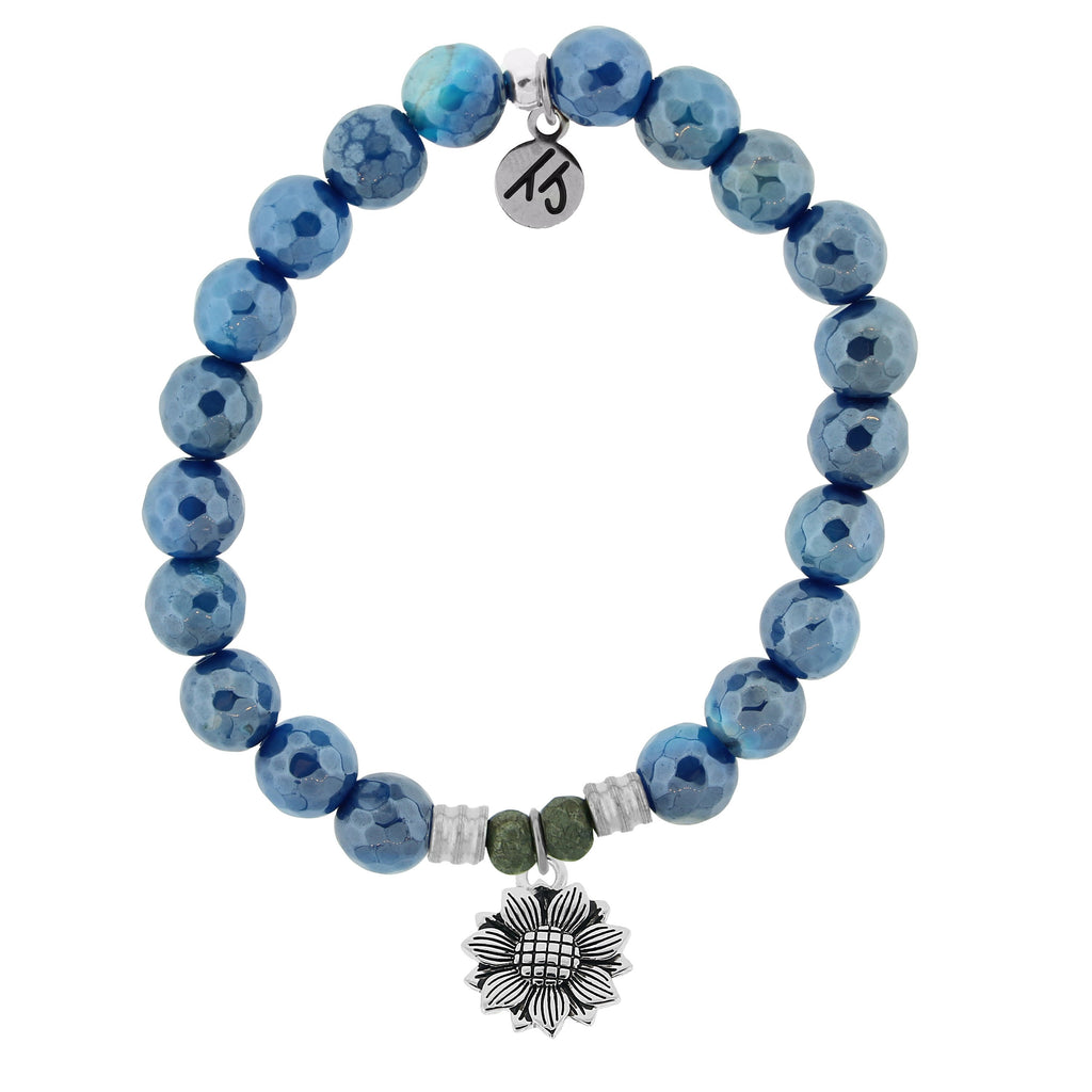 Blue Agate Stone Bracelet with Sunflower Sterling Silver Charm