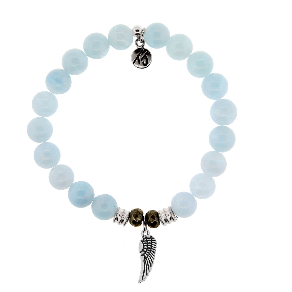 Blue Aquamarine Stone Bracelet with Angel Wing Sterling Silver Charm