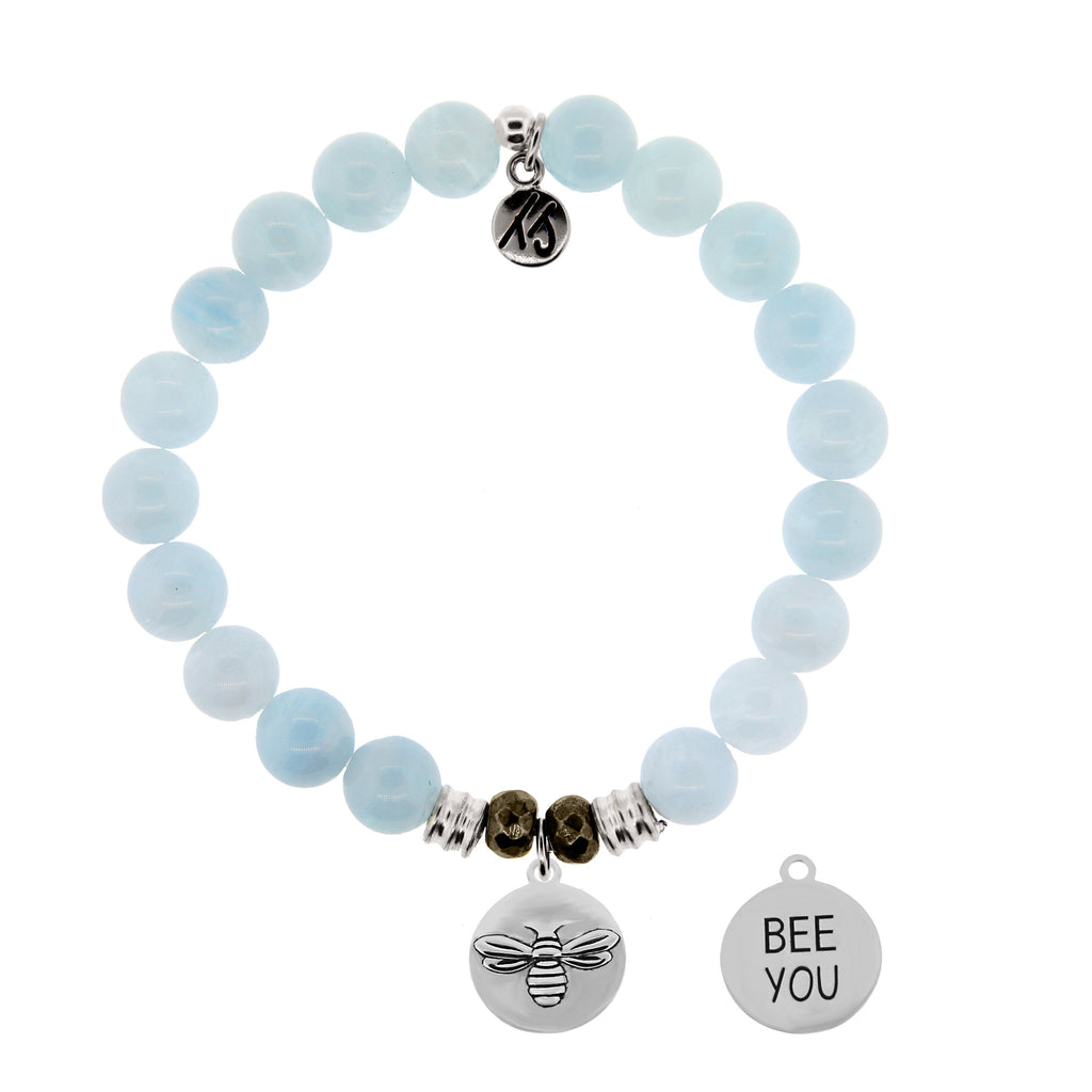 Blue Aquamarine Stone Bracelet with Bee You Sterling Silver Charm