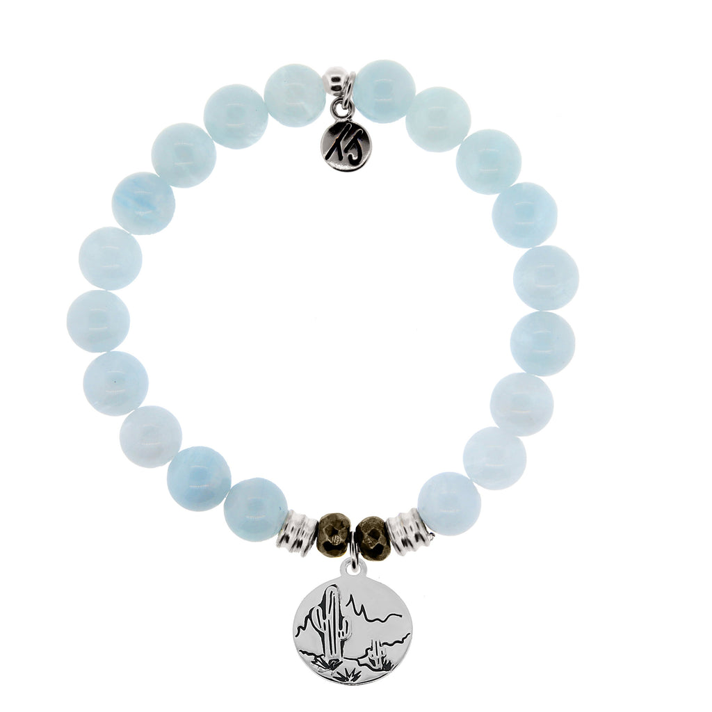 Blue Aquamarine Stone Bracelet with Cactus Sterling Silver Charm