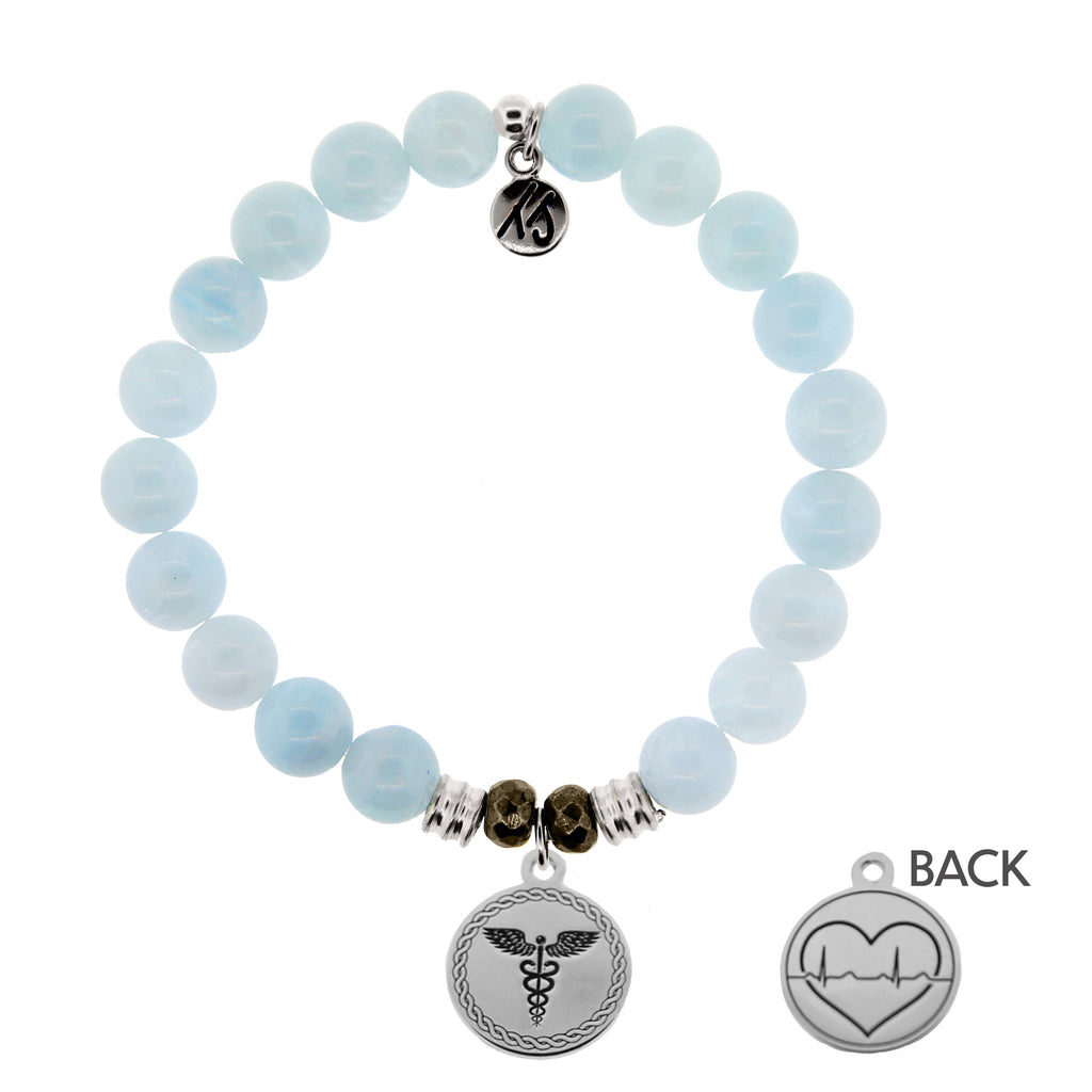 Blue Aquamarine Stone Bracelet with Caduceus Sterling Silver Charm