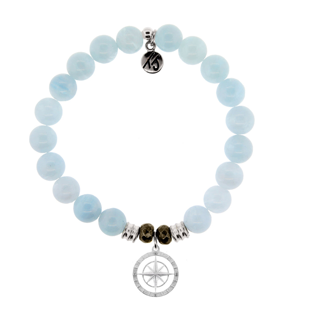 Blue Aquamarine Stone Bracelet with Compass Rose Sterling Silver Charm