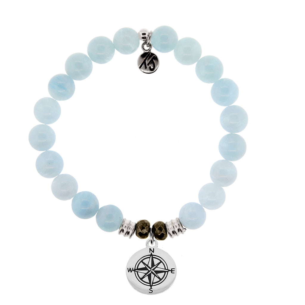 Blue Aquamarine Stone Bracelet with Compass Sterling Silver Charm