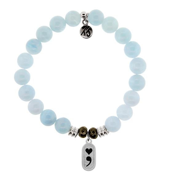Blue Aquamarine Stone Bracelet with Continue Sterling Silver Charm