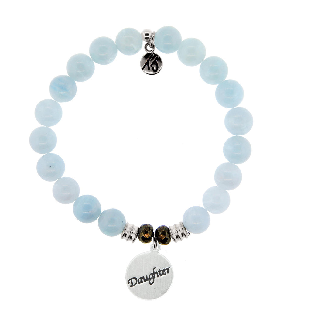 Blue Aquamarine Stone Bracelet with Daughter Endless Love Sterling Silver Charm