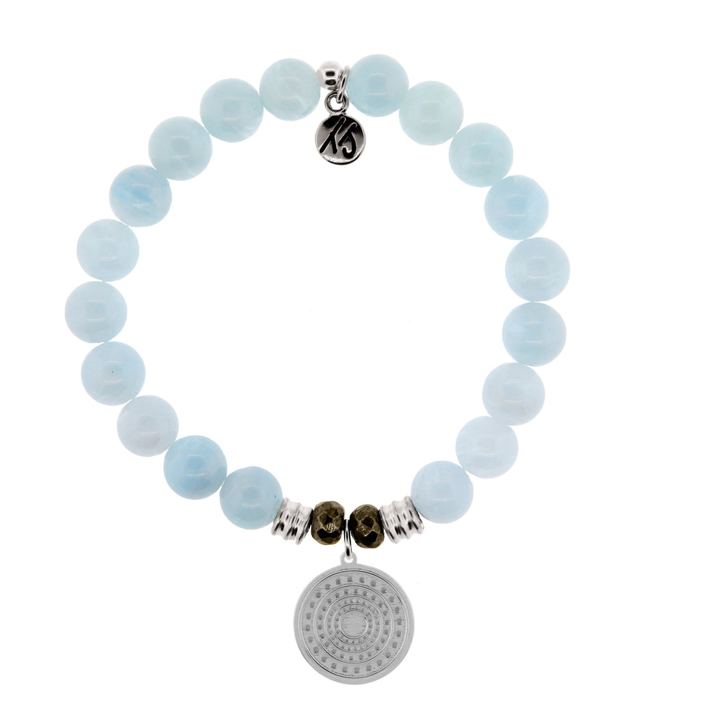 Blue Aquamarine Stone Bracelet with Family Circle Sterling Silver Charm