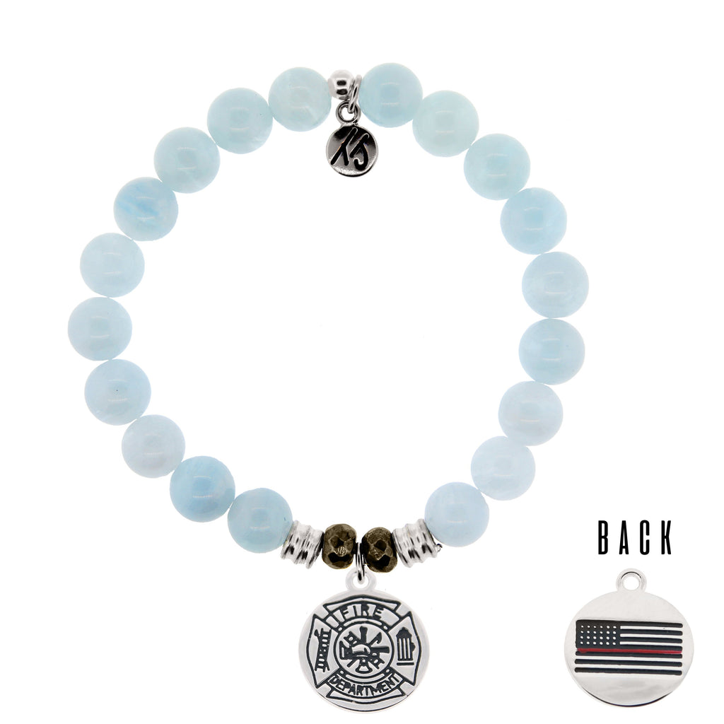 Blue Aquamarine Stone Bracelet with Firefighter Sterling Silver Charm
