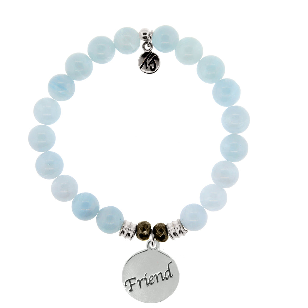 Blue Aquamarine Stone Bracelet with Friend Endless Love Sterling Silver Charm