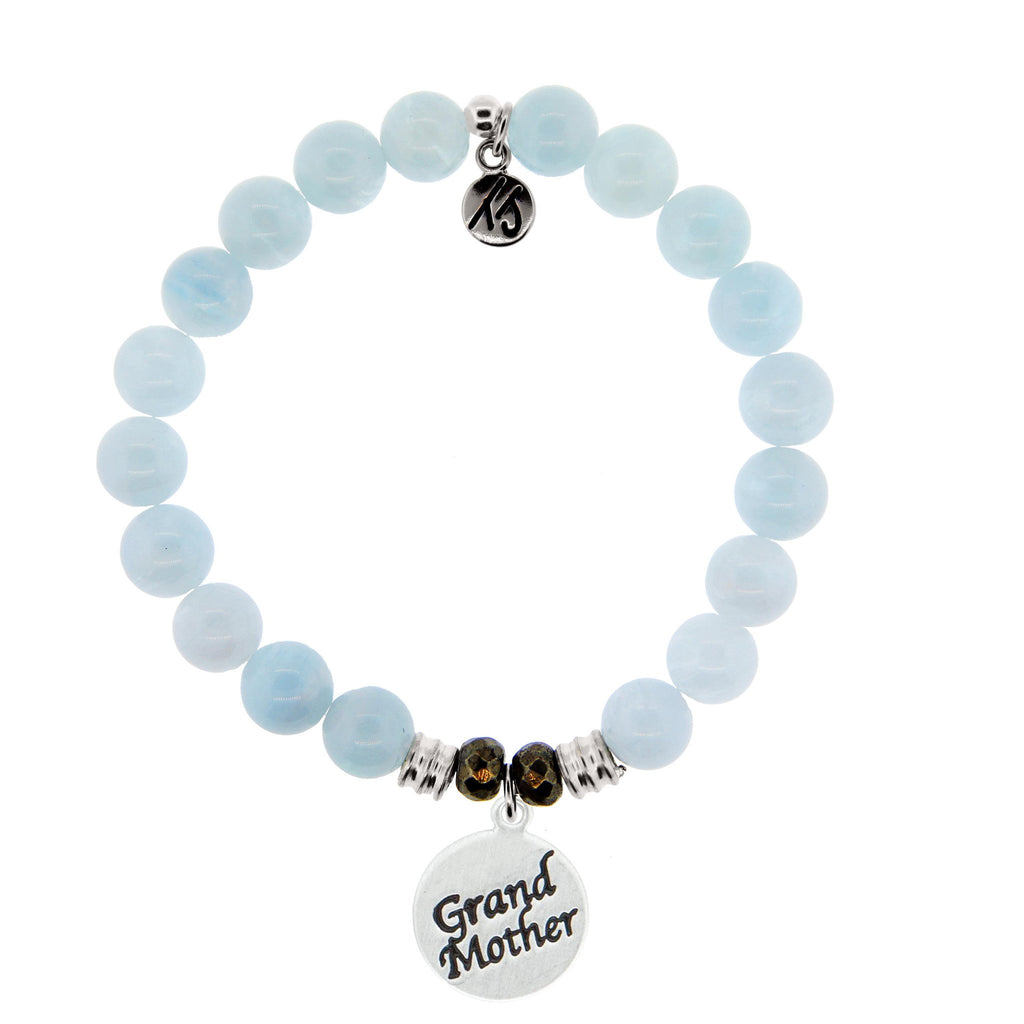 Blue Aquamarine Stone Bracelet with Grandmother Endless Love Sterling Silver Charm